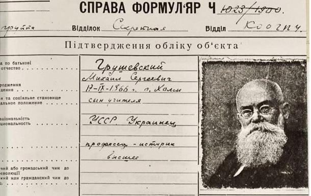 СБУ показала засекречені документи про Грушевського